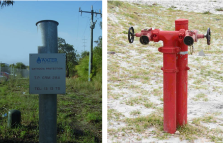 Cathodic protection test point and fire service standpipe