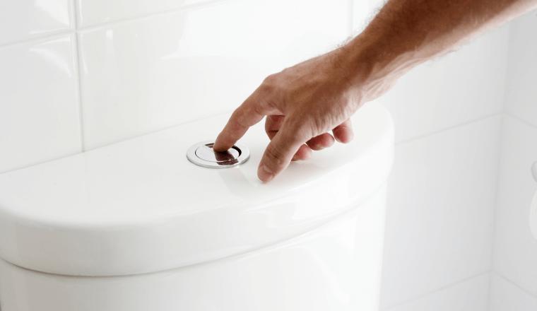 Flushing a dual flush toilet